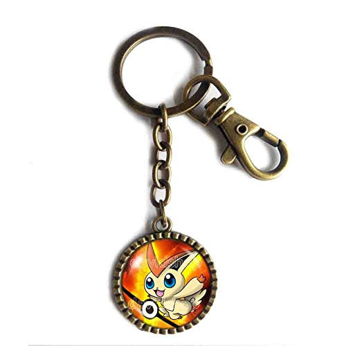 Pokemon Victini Keychain Keyring Car Anime Pokeball Cosplay