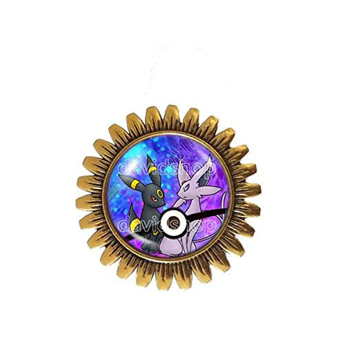 Pokemon Umbreon and Espeon Pokeball Brooch Badge Pin Anime Fashion Jewelry Eevee Cosplay Love - DDavid'SHOP