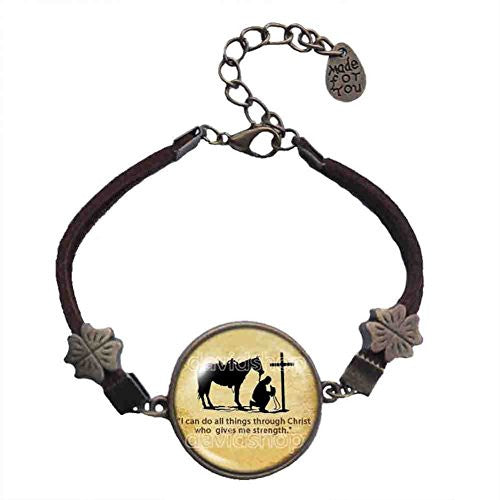 PRAYING COWBOY Bracelet Cross Horse Christian Symbol Pendant Fashion Jewelry