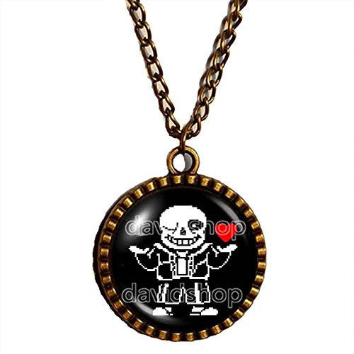Undertale Sans Necklace Art Glass Pendant Fashion Jewelry Cute Game Red Heart Chain