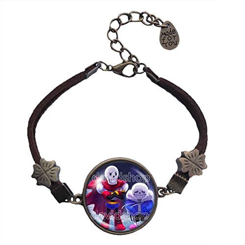 Undertale Bracelet Art Glass Pendant Fashion Jewelry Game Sans Papyrus Skull New
