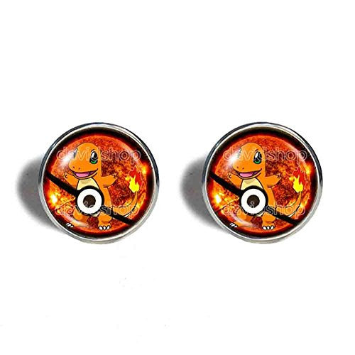 Pokemon Charmander Pokeball Cufflinks Cuff links Symbol Anime Fashion Jewelry Cosplay Cute - DDavid'SHOP