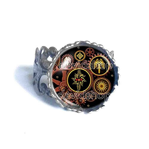Kirkwall Dragon Age Ring Gear Steampunk Symbol Sign Fashion Jewelry Cosplay Cute Gift