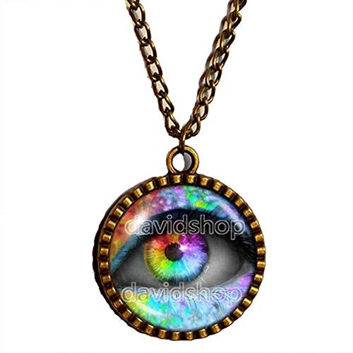 Colorful Eyes Throat Chakra Necklace Charm Pendant Spiritual Women Jewelry Cute Gift Chain - DDavid'SHOP