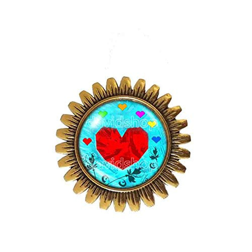 Undertale Brooch Badge Pin Heart Pendant Jewelry Chain Cosplay flower