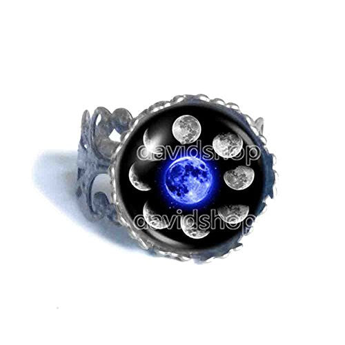 Moon Phases Ring Fashion Jewelry Blue