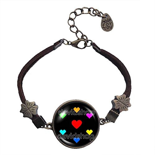 Undertale Bracelet Art Pendant Game Charm Cosplay Undyne Heart Courage Spirit