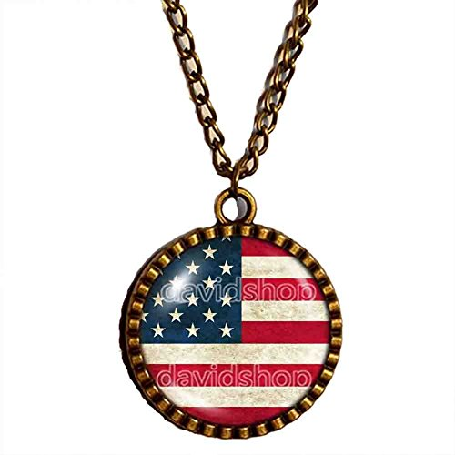 American Flag Necklace USA Pendant Jewelry