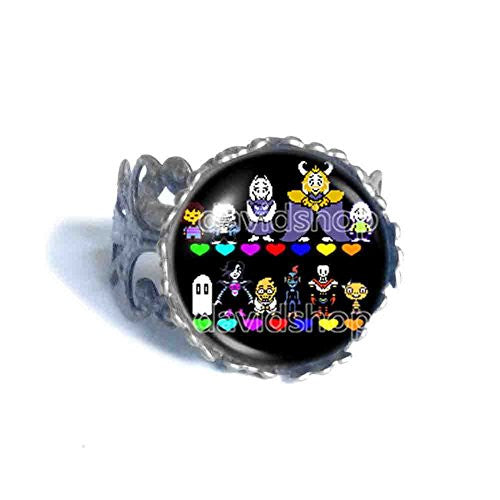 Undertale Ring Pendant Fashion Jewelry Doggo Undyne Cosplay Red Heart Multicolor Sans