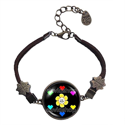 Undertale Bracelet Art Glass Flowey Pendant Jewelry Game Yellow flowers Red Heart