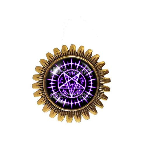 Black Butler Brooch Badge Pin Tetragrammaton Pendant Ciel Phantomhive Sebastian Seal Pentagram Sign
