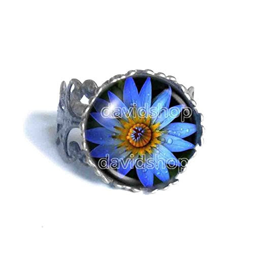 Blue Lotus Flower Ring Symbol Poster Photo Pendant Fashion Jewelry Yoga Charms Woman