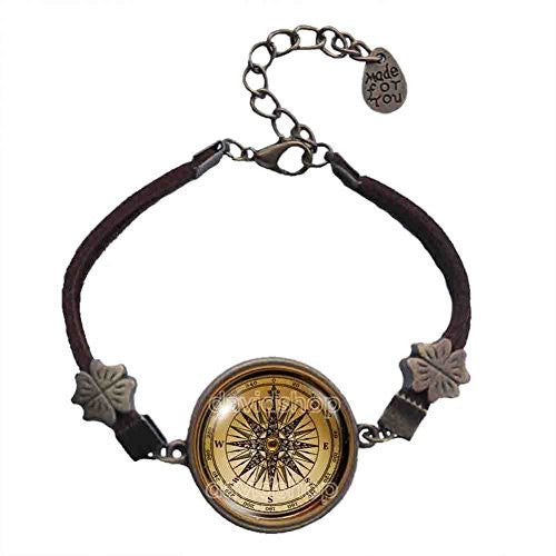 Antique Vintage Nautical Compass Bracelet Symbol Photo Art Glass Pendant Fashion Jewelry Cosplay