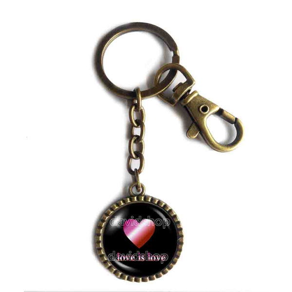 Love Is Love Lesbian Pride Keychain Key Chain Key Ring Cute Keyring Car Fashion Jewelry Heart Flag Rainbow LGBTQ Symbol Art Cute Gift