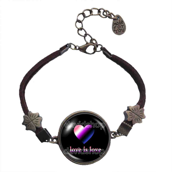 Love Is Love Genderfluid Pride Bracelet Heart Flag Rainbow LGBTQ Symbol Art Cute Gift Colorful Hip Hop Charm