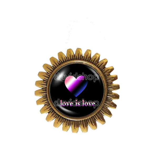 Love Is Love Genderfluid Pride Brooch Badge Pin Fashion Jewelry Heart Flag Rainbow LGBTQ Symbol Art Cute Gift Colorful Hip Hop Charm