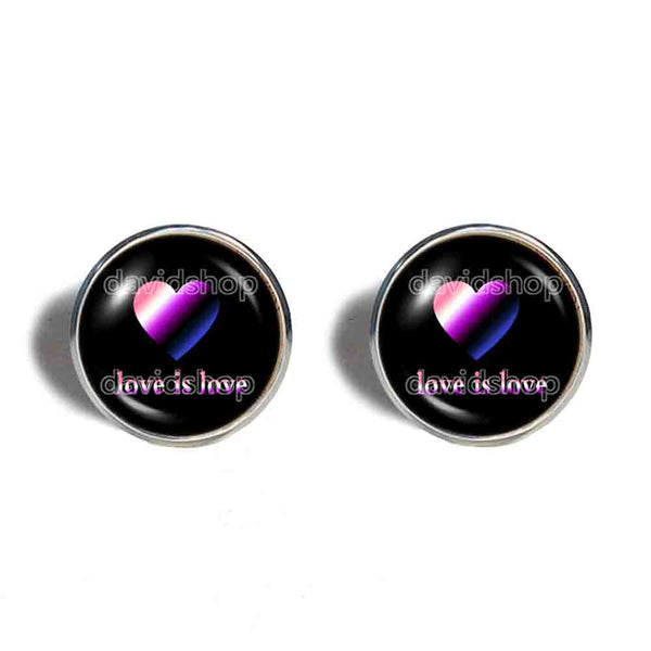 Love Is Love Genderfluid Pride Ear Cuff Earring Fashion Jewelry Heart Flag Rainbow LGBTQ Symbol Art Cute Gift Colorful Hip Hop Charm