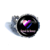Love Is Love Genderfluid Pride Ring Fashion Jewelry Heart Flag Rainbow LGBTQ Symbol Art Cute Gift Colorful Hip Hop Charm