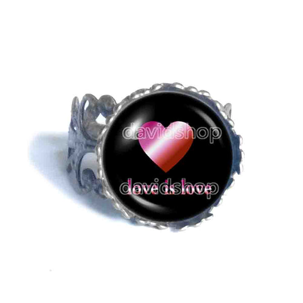 Love Is Love Lesbian Pride Ring Fashion Jewelry Heart Flag Rainbow LGBTQ Symbol Art Cute Gift Colorful Hip Hop Charm