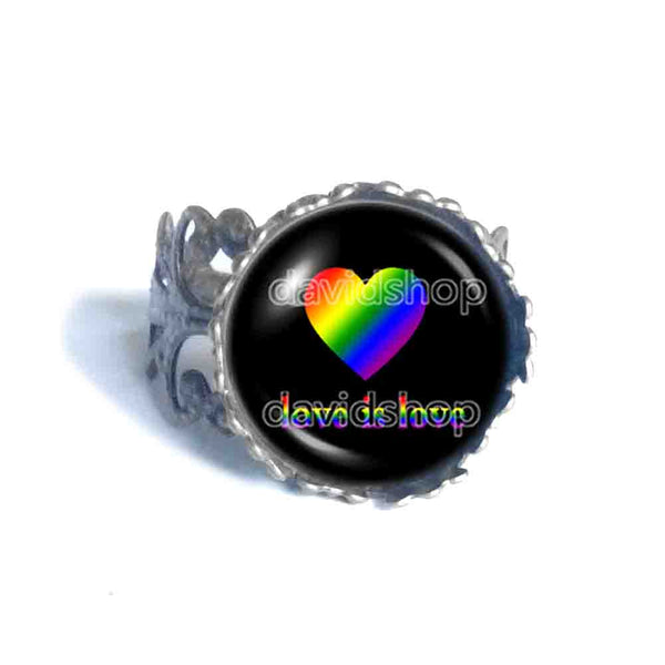 Love Is Love Gay Pride Ring Fashion Jewelry Heart Flag Rainbow LGBTQ Symbol Art Cute Gift Colorful Hip Hop Charm