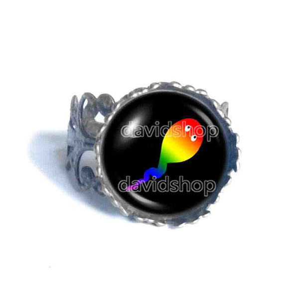 Cute Gay Pride Ring Fashion Jewelry Flag Rainbow LGBTQ Symbol Colorful Hip Hop Charm
