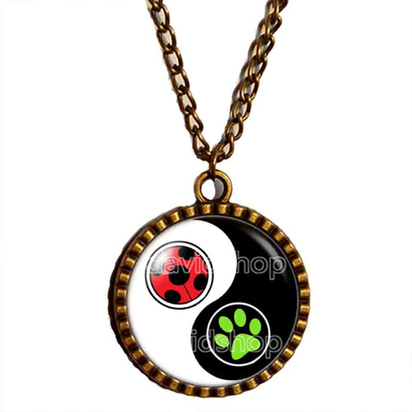 Peacock Cat Noir Volpina Rena Rouge Queen Bee Miraculous Ladybug Necklace Pendant Fashion Jewelry Ying Yin Yang Cosplay