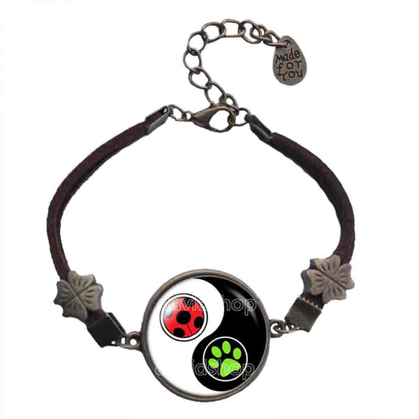 Peacock Cat Noir Volpina Rena Rouge Queen Bee Miraculous Ladybug Bracelet Fashion Jewelry Ying Yin Yang Cosplay