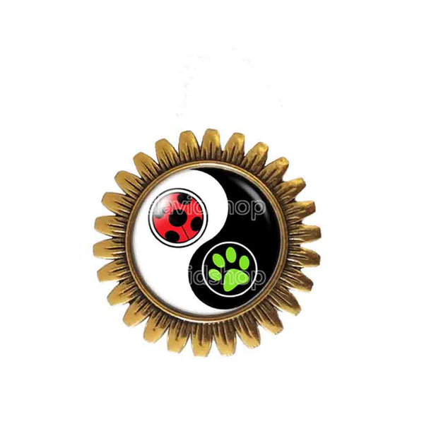 Peacock Cat Noir Volpina Rena Rouge Queen Bee Miraculous Ladybug Brooch Badge Pin Cute Gift Fashion Jewelry Ying Yin Yang Cosplay