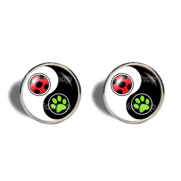Peacock Cat Noir Volpina Rena Rouge Queen Bee Miraculous Ladybug Cufflinks Cuff links Cosplay Ying Yin Yang Fashion Jewelry