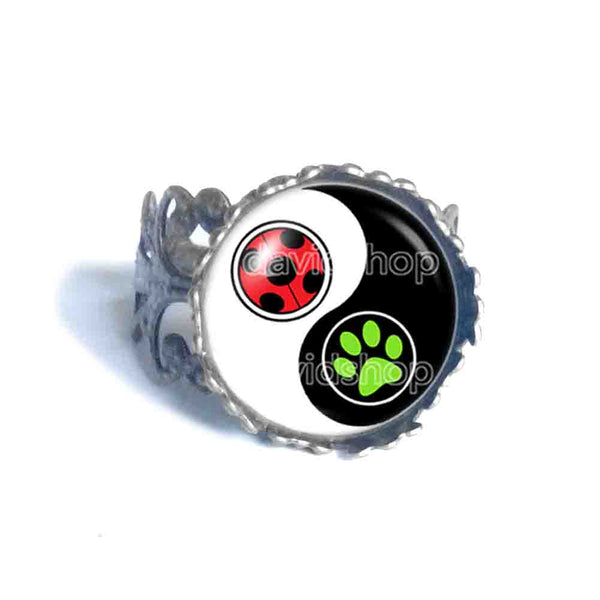 Peacock Cat Noir Volpina Rena Rouge Queen Bee Miraculous Ladybug Ring Fashion Jewelry Ying Yin Yang Cosplay