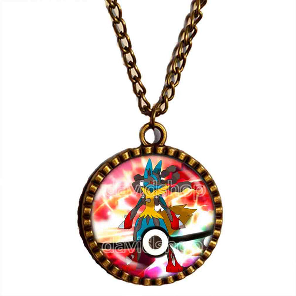 Pokemon Lucario Pokeball Necklace Lucarionite Mega Stone Anime Pendant Jewelry Cosplay Cute Gift