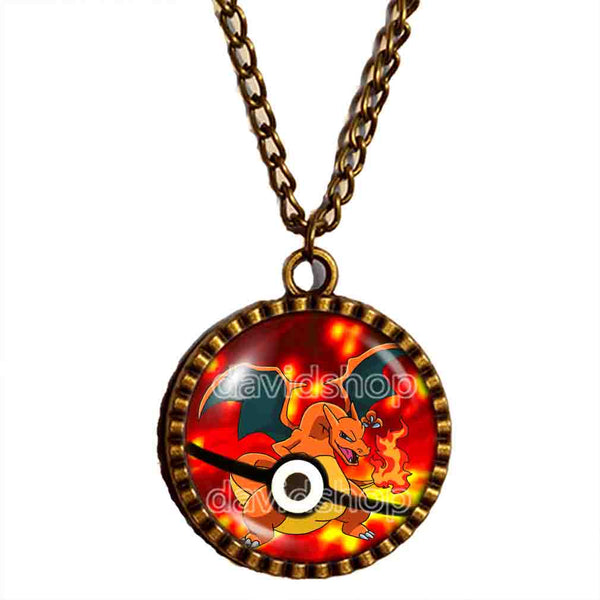 Pokemon Charizard Pokeball Necklace Charizardite Y Mega Stone Anime Pendant Jewelry Cosplay Cute Gift