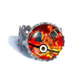 Pokemon Charizard Pokeball Ring Anime Jewelry Charizardite Y Mega Stone Cosplay Cute Gift