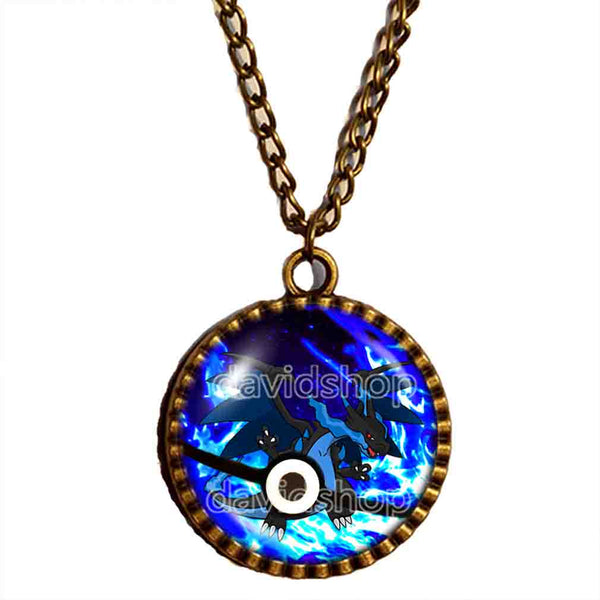 Pokemon Charizard Pokeball Necklace Charizardite X Mega Stone Anime Pendant Fashion Jewelry Cute Gift Friend Men