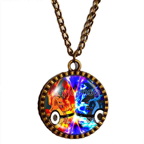 Pokemon Charizard Pokeball Necklace Charizardite XY X Y Mega Stone Anime Pendant Jewelry