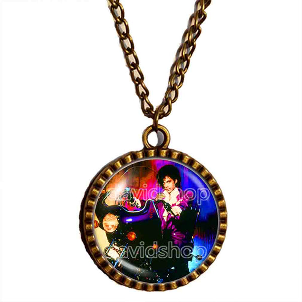 Prince Necklace Photo Pendant Purple Rain Art Fashion Jewelry Gift Sign Cosplay Men