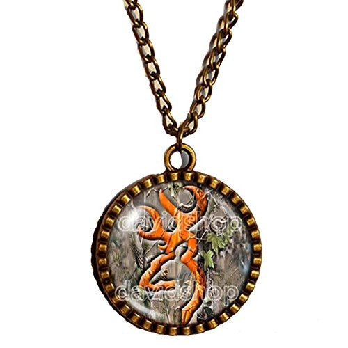 Browning Deer Pendant Necklace Buckmark Buck Art glass Hunting Bow Hunter Fashion Jewelry - DDavid'SHOP