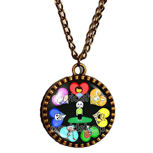 Undertale Necklace Art Pendant Fashion Jewelry Game Undyne Funny Cute Sans