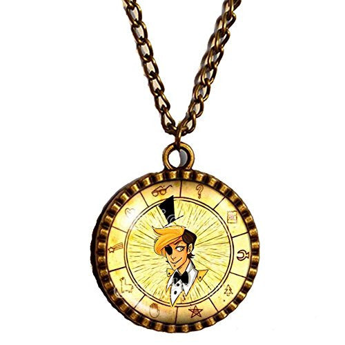 Gravity Falls Bill Cipher Wheel Necklace Pendant Life Writer Gompers the goat