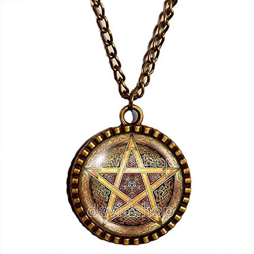 Witchcraft Pentacle Wicca Pentagram Wiccan Pagan Necklace Symbol Pendant Fashion Jewelry Cosplay