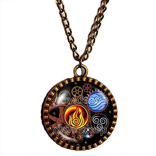 Avatar the last Airbender Necklace Fire Elements Water Tribe Earth Kingdom Air Nomads Pendant Legend of Korra Jewelry Steampunk Gear - DDavid'SHOP