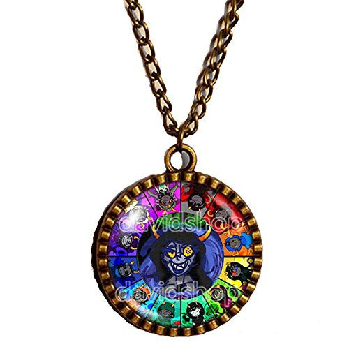 Homestuck Necklace God Mandala Art Glass Pendant cosplay Jewelry Capricorn Chain