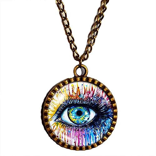 Throat Chakra Necklace Charm Evil Eye Pendant Spiritual Women Jewelry Cute Gift Chain Eye Colorful