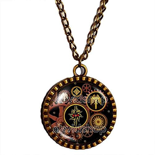 Kirkwall Dragon Age Necklace Gear Steampunk Symbol Sign Pendant Fashion Jewelry Cosplay Cute Gift