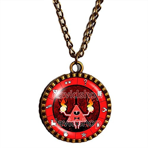 Gravity Falls Red Bill Cipher Wheel Necklace Antique Pendant Jewelry Cosplay Gift