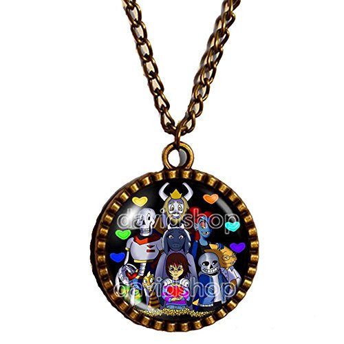 Undertale Necklace Art Pendant Fashion Jewelry Game Undyne Flowey the flower