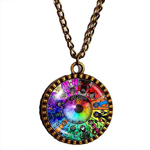 Colorful Eyes Homestuck Necklace God Mandala art Glass Pendant cosplay fashion Jewelry Charm chain Gift - DDavid'SHOP