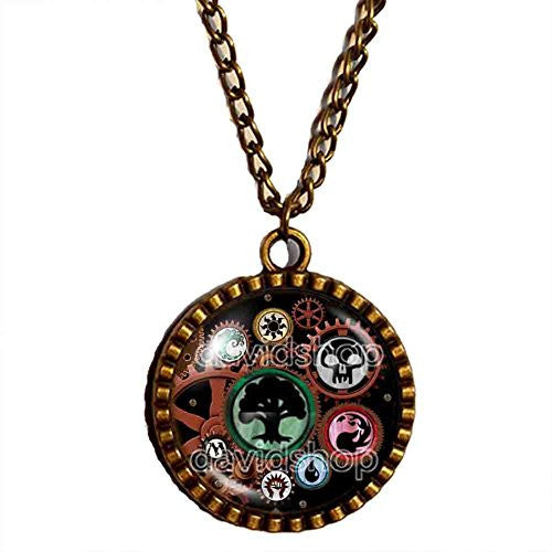 Magic the Gathering Necklace Steampunk Pendant Fashion Mana Jewelry Gift Cosplay MTG Gear