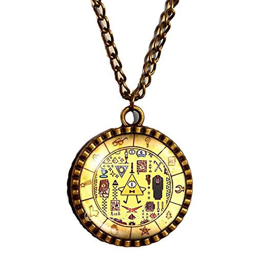 New Design Gravity Falls Bill Cipher Wheel Necklace Art Pendant Jewelry Gift