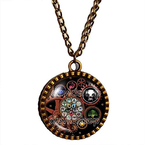 Magic the Gathering Necklace Steampunk Pendant Fashion Mana Jewelry Cosplay MTG Gear Symbol